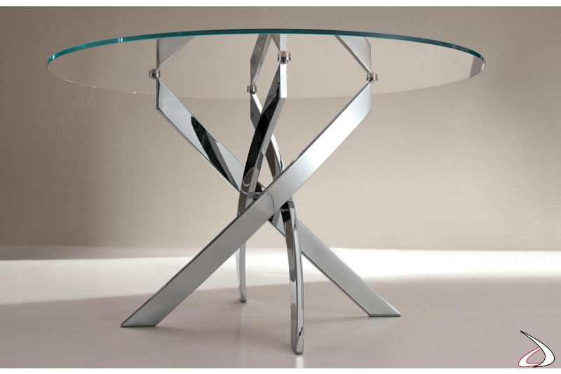 Round crystal design table with chrome base