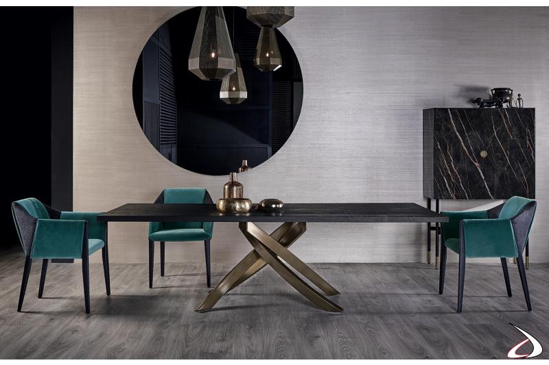 Tavolo fisso rettangolare di design con piano in impiallacciato rovere carbone