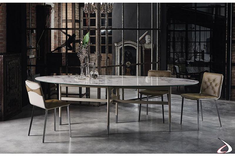 Tavolo di lusso ellittico con piano in marmo
