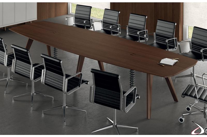 Tavolo grande moderno per riunioni in legno impiallacciato rovere tabacco