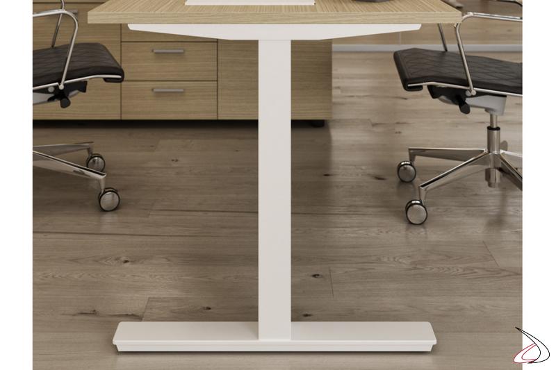 Tavolo conferenza quadrato moderno con gamba fissa bianca
