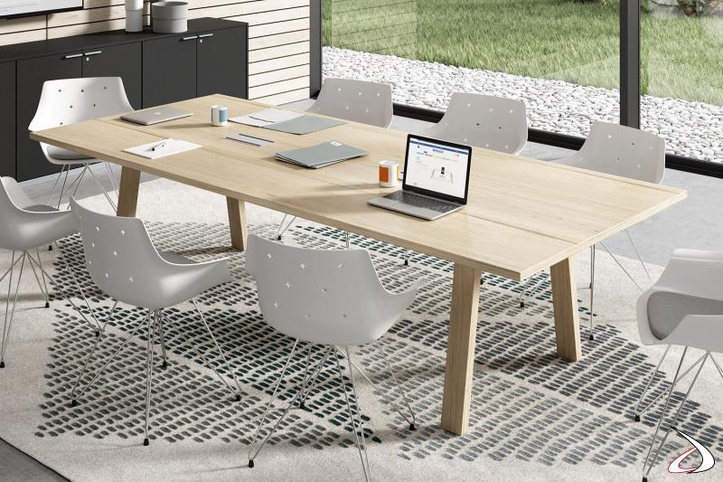 Tavolo conferenza moderno da ufficio con gambe a cavalletto e piano in melaminico