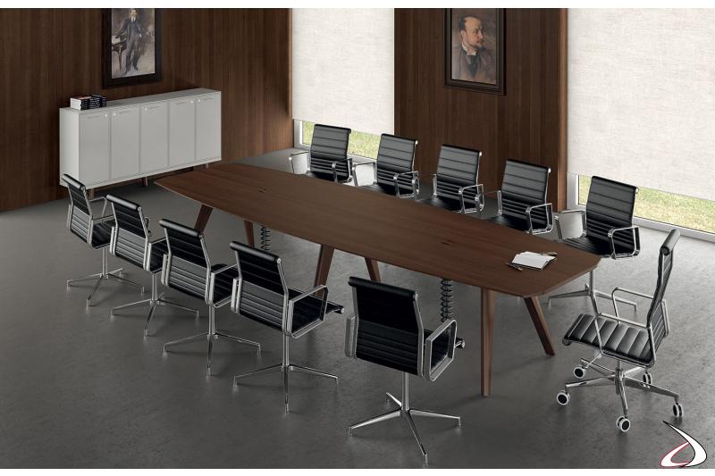 Tavolo riunioni grande moderno in legno impiallacciato con passacavi