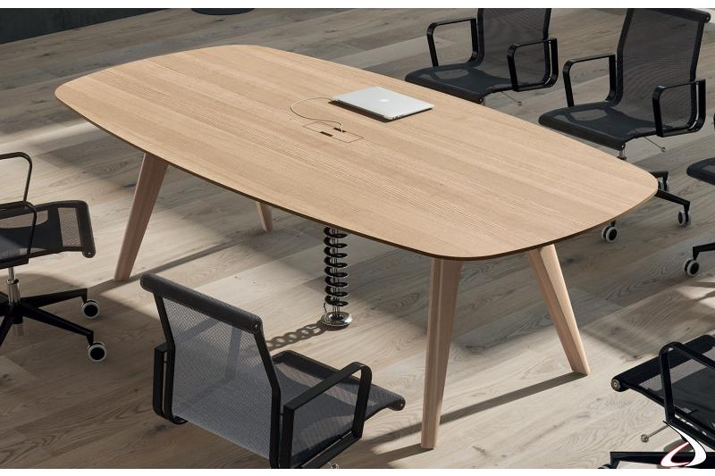 Tavolo per meeting da ufficio in legno impiallacciato rovere naturale con passacavi