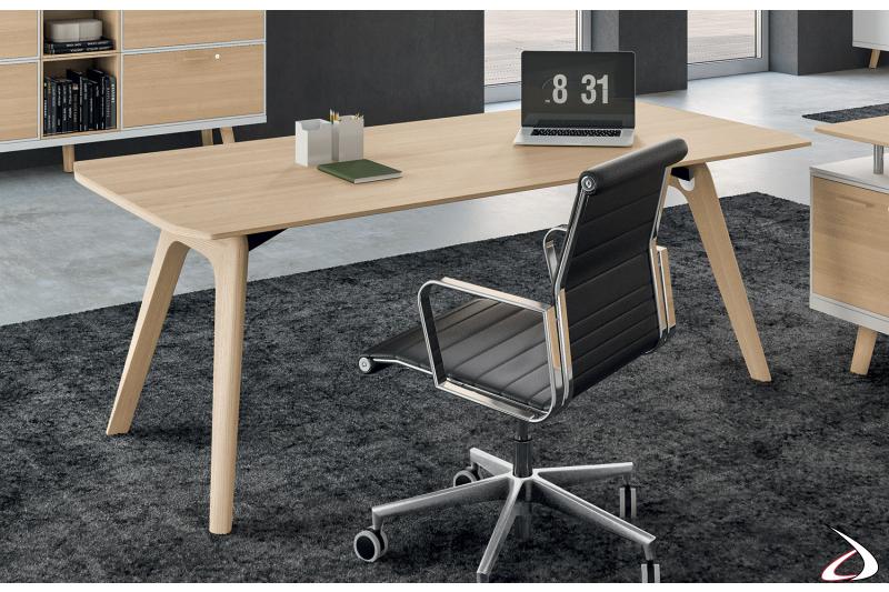 Scrivania moderna da ufficio in legno rovere naturale