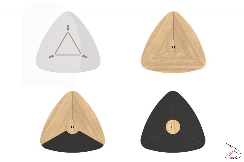 Tavolo triangolare per meeting da ufficio in legno, vetro o in ecopelle