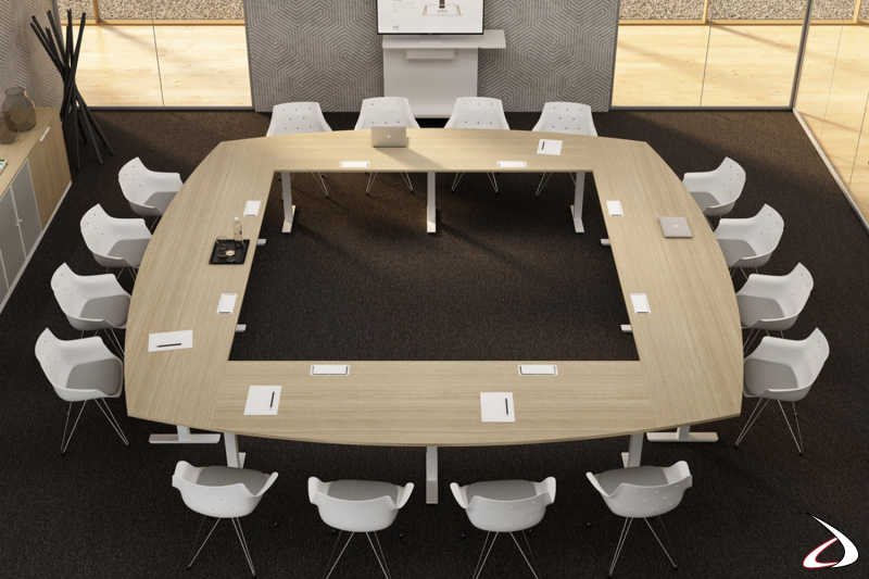 Tavolo riunioni quadrato di design per 16 persone