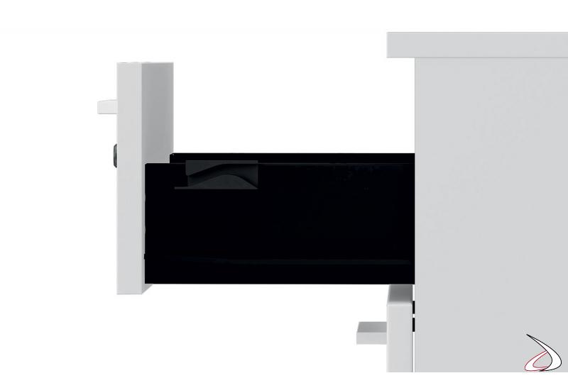 Cassettiera ufficio di design con maniglie e con cassetti neri