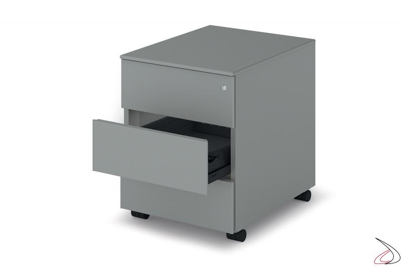 Cassettiera ufficio in metallo su ruote con 3 cassetti con serratura