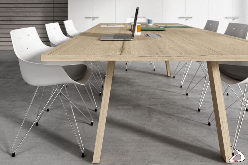Tavolo design meeting con piano in melaminico rovere antico