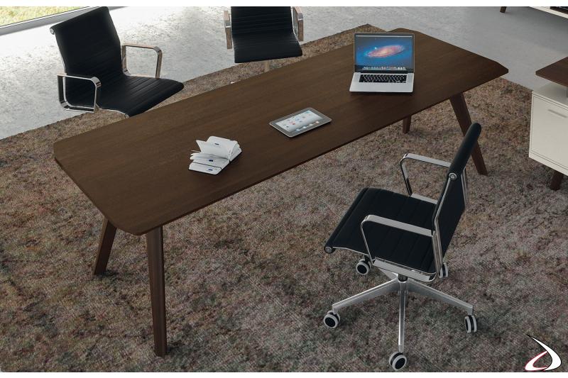 Scrivania ufficio moderna in legno rovere tabacco