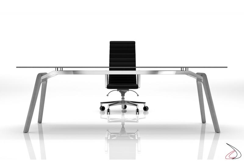 Scrivania ufficio di design in vetro con gambe in legno rovere grigio