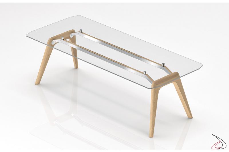Scrivania di design in vetro trasparente con gambe in legno rovere chiaro