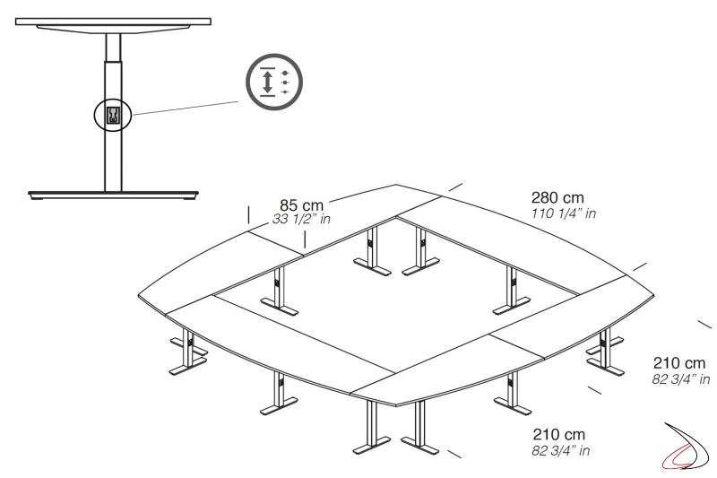 Tavolo quadrato meeting di design con gamba regolabile in altezza tramite bottone
