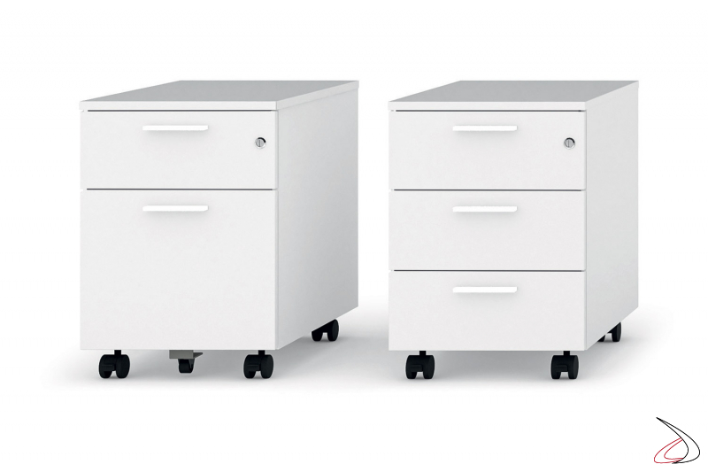 Cassettiere ufficio moderne bianche su ruote con cassetti e con classificatore porta cartellette
