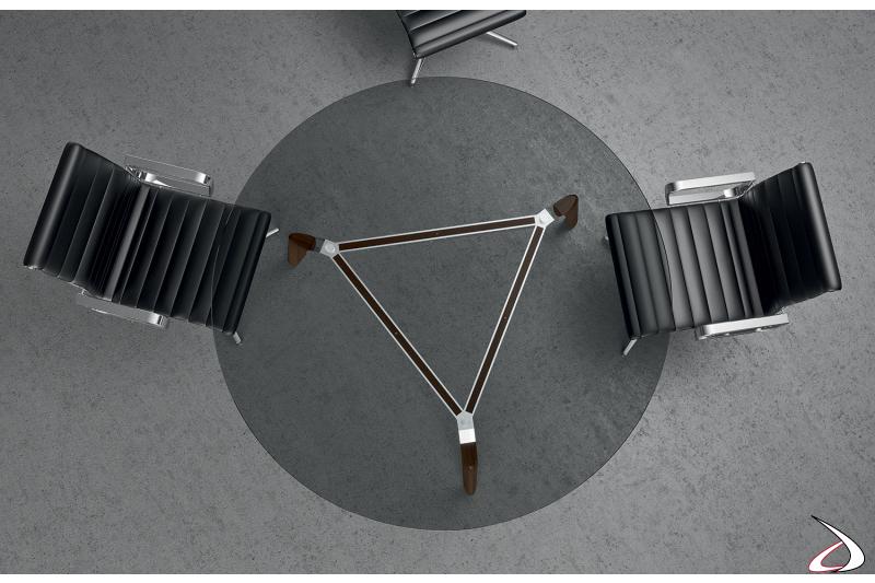 Tavolo ufficio rotondo di design in vetro trasparente per riunioni