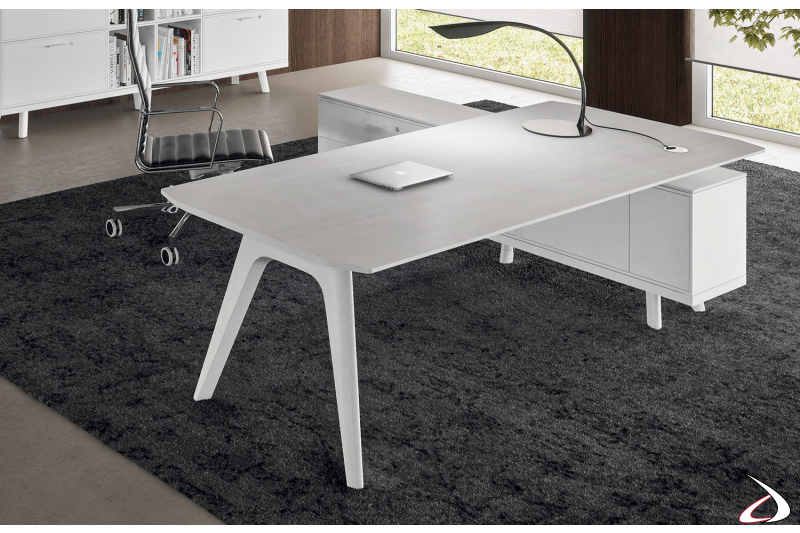 Scrivani ufficio moderna in legno rovere bianco con mobile di servizio con ante e cassetti con serratura