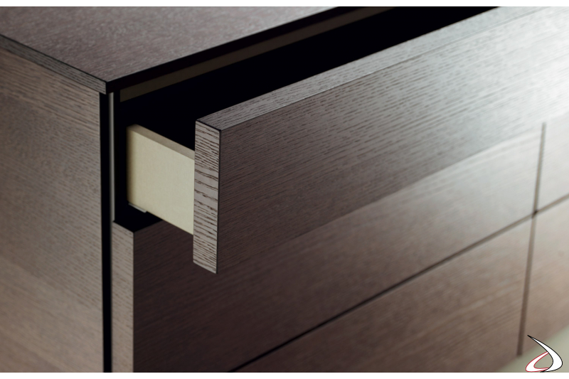 Drawer with lateral recess for opening