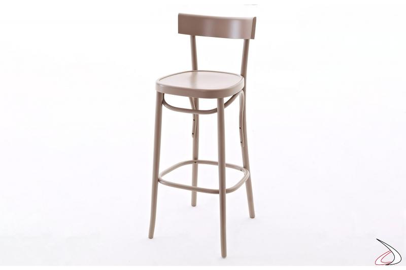 Sgabello di design con schienale alto in legno faggio colorato beige avana