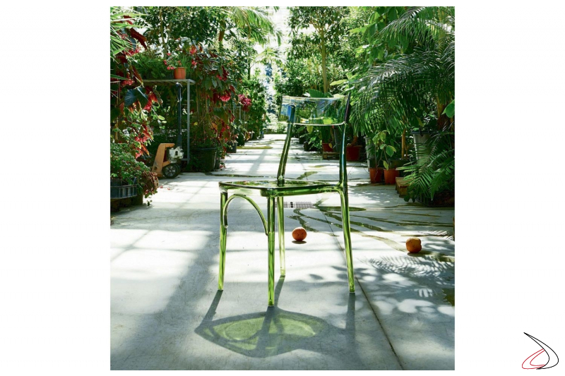 Sedia da giardino di design in policarbonato trasparente verde impilabile