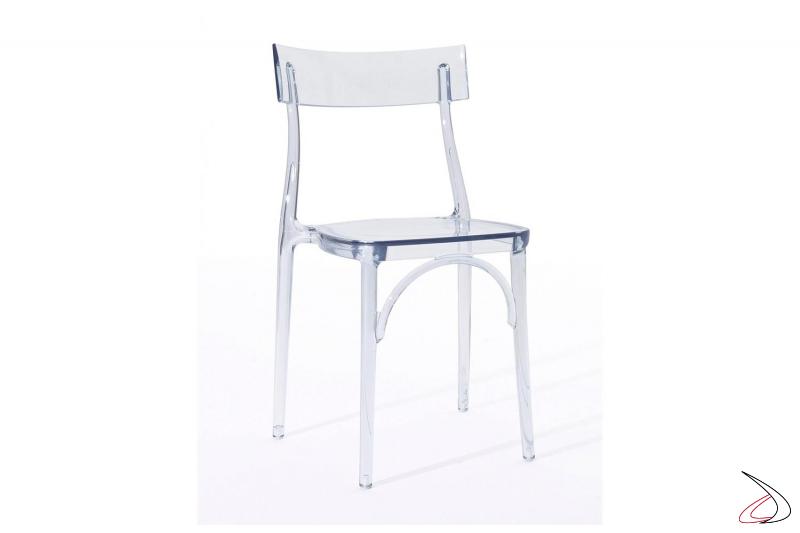 Sedia trasparente in policarbonato impilabile da cucina o da ristorante