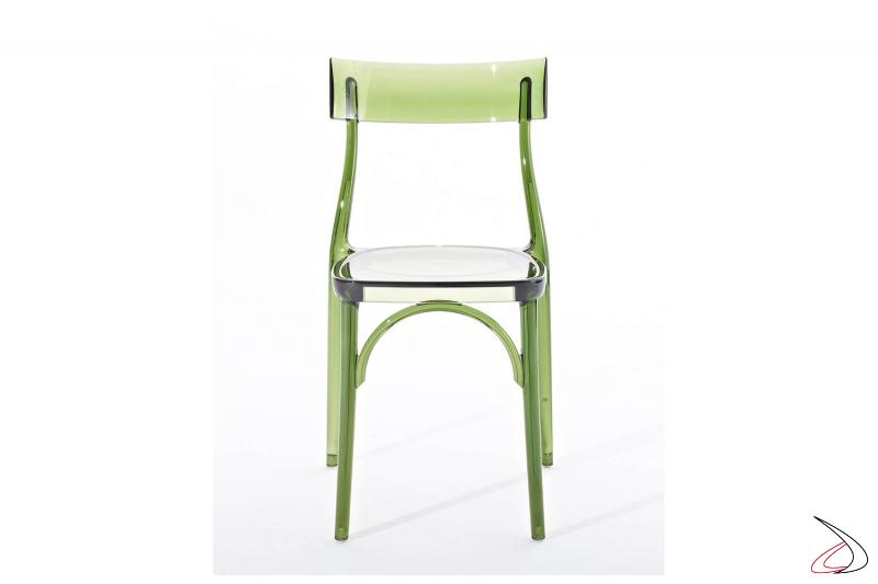 Sedia da esterno bar di design in policarbonato trasparente verde