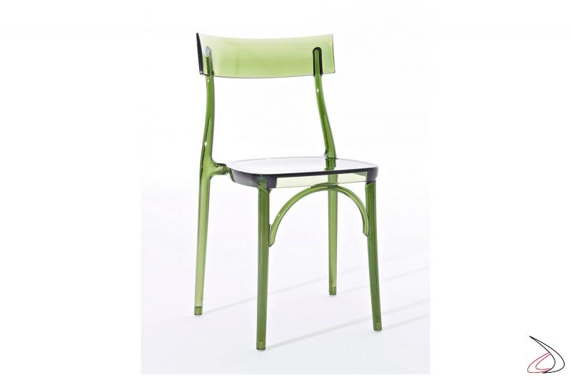 Sedia da cucina in policarbonato trasparente verde impilabile moderna