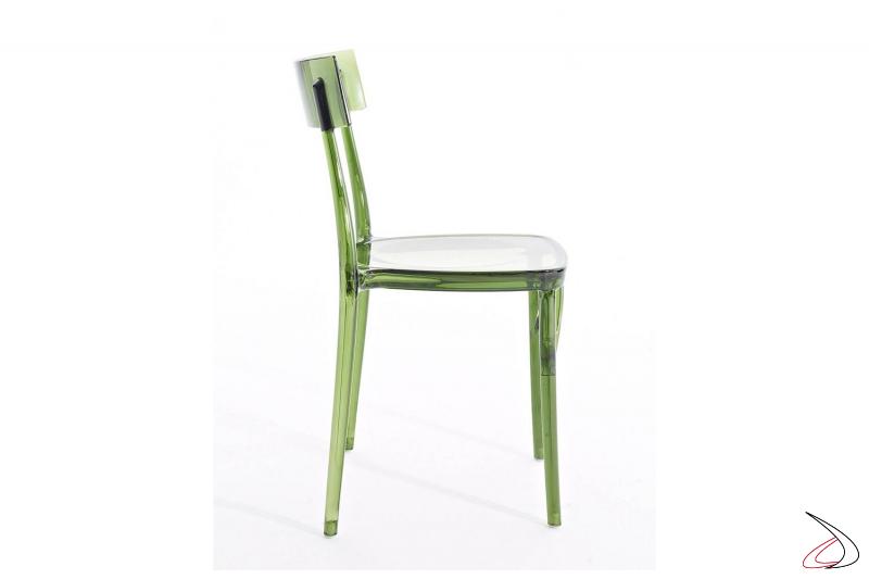 Sedia da giardino impilabile in policarbonato trasparente verde di design