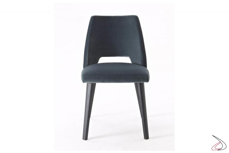 Sedia di design da soggiorno imbottita con 4 gambe in legno rovere