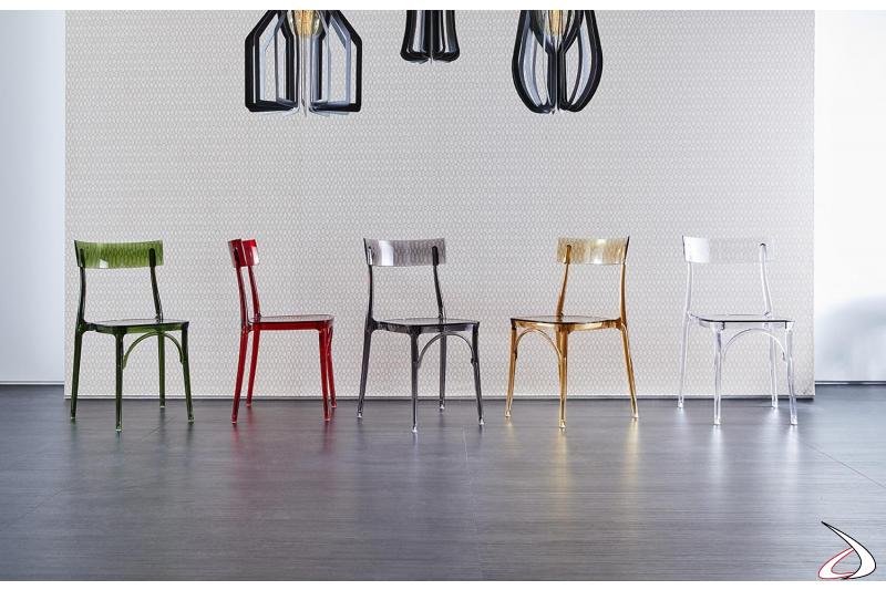 Sedie design colorate in policarbonato trasparente da cucina impilabili
