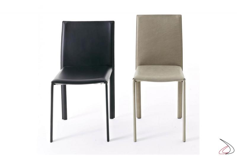 Sedie in cuoio e in pelle vintage moderne con schienale alto da soggiorno
