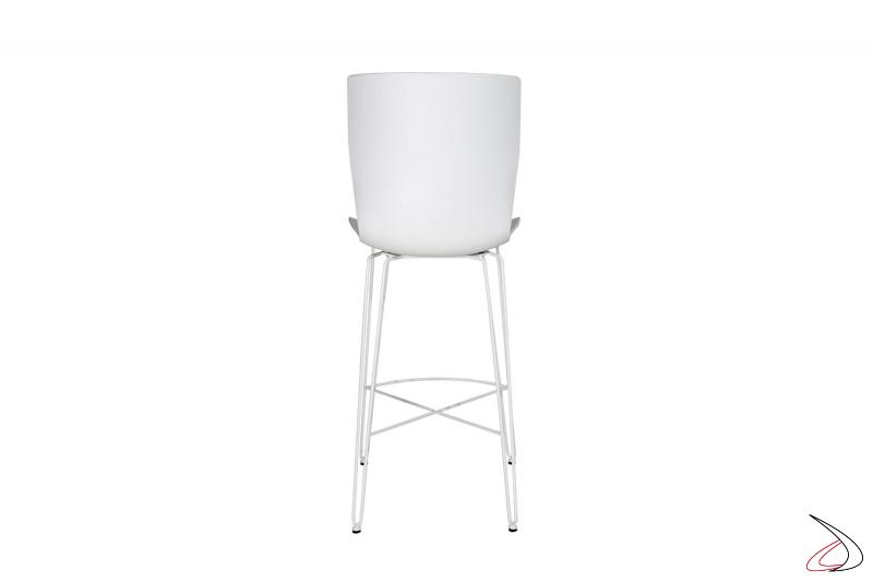 Sgabello bianco basso moderno con sedile con schienale alto in polipropilene