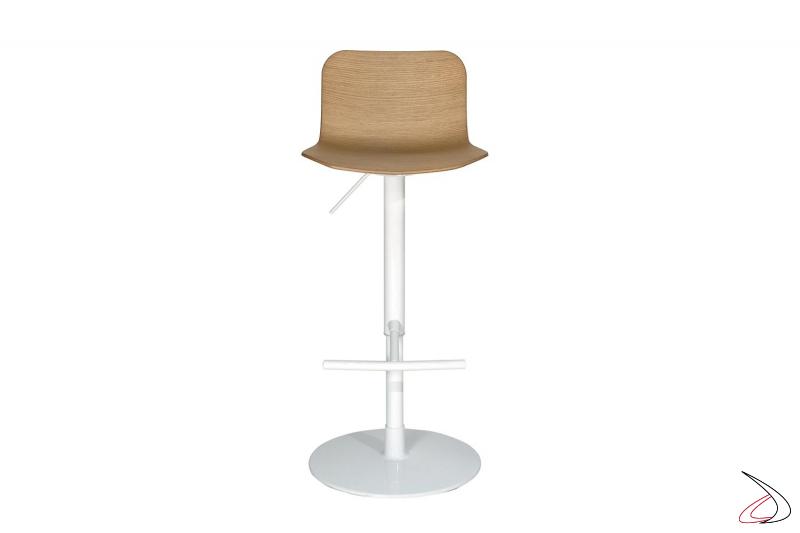 Sgabello bianco di design da cucina regolabile in altezza con sedile in legno