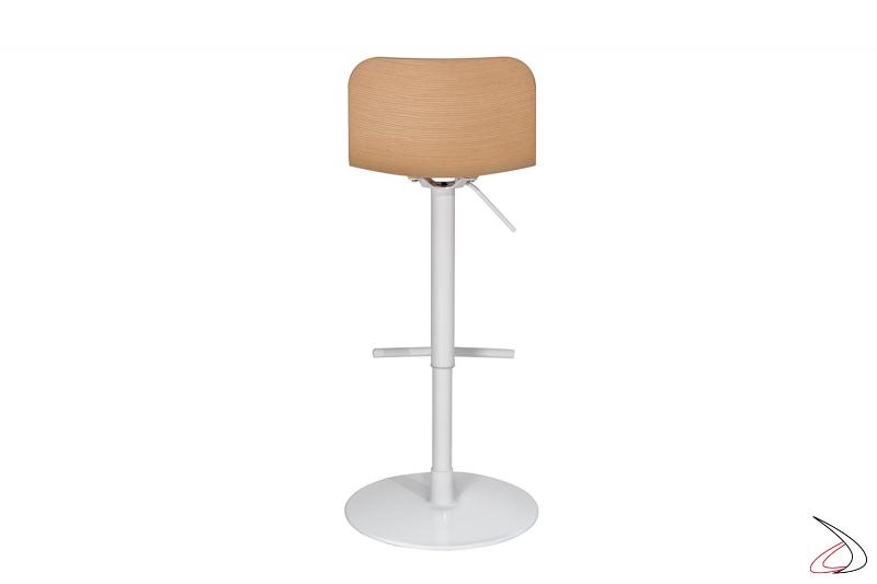 Sgabello girevole bianco di design per bancone cucina con seduta in rovere
