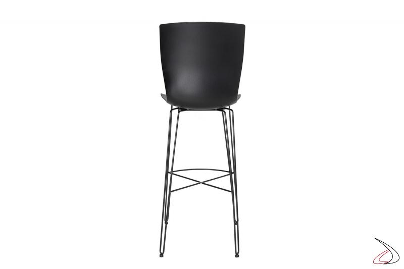 Sgabello per bancone cucina nero con gambe in tondino di acciaio