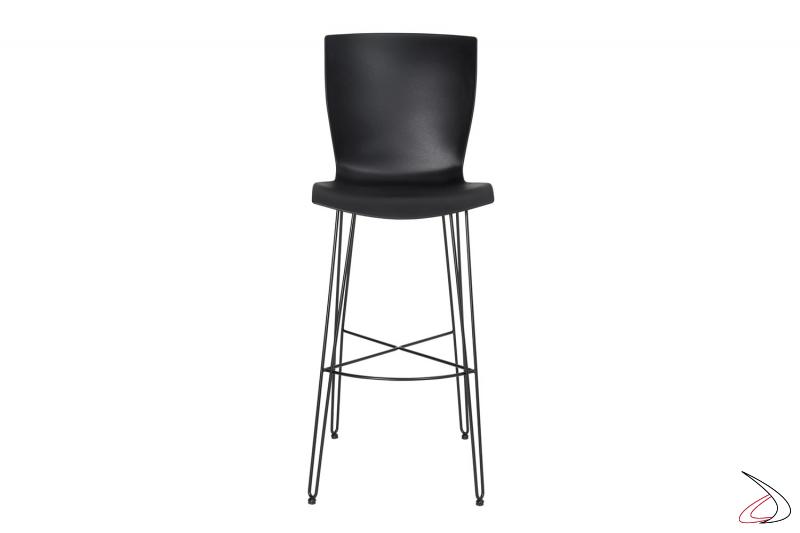 Sgabello di design fisso nero con seduta con schienale alto in polipropilene