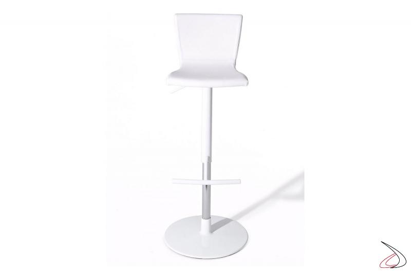 Sgabello bianco girevole con schienale alto con seduta imbottita in ecopelle