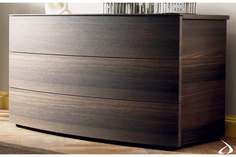 Comò design in legno a 3 cassetti curvati