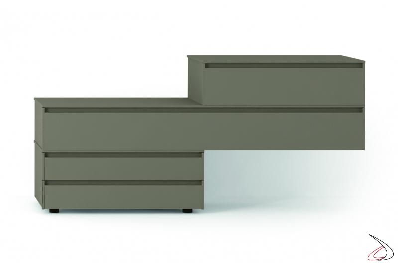 Comodino moderno componibile in legno
