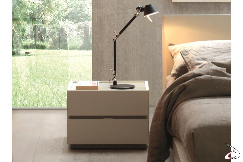 Comodino moderno 2 cassetti per camera da letto