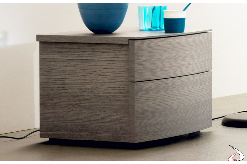 Contemporary bedside with 2 curved drawers