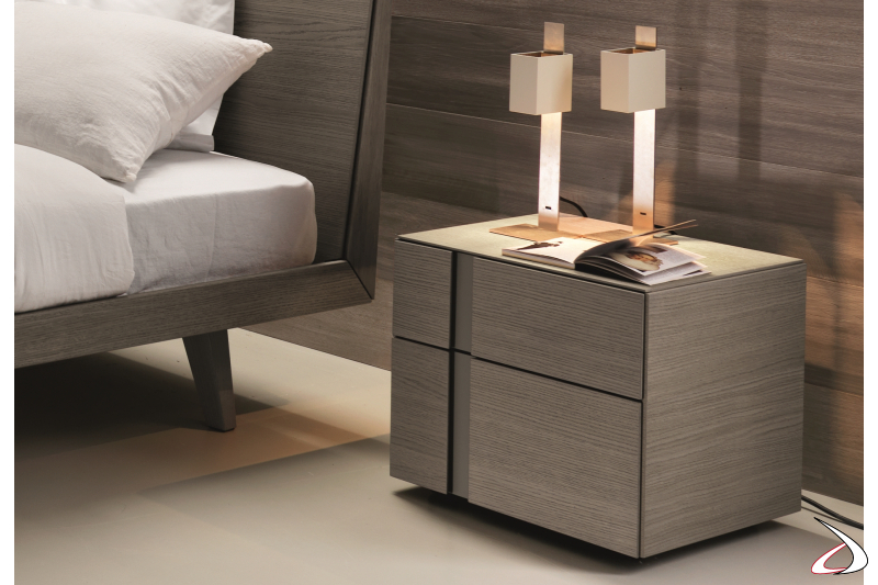 Contemporary bedside with groove opening