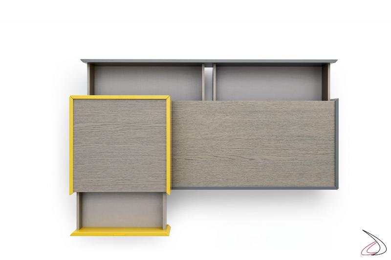 Comodino moderno centro stanza con top in legno