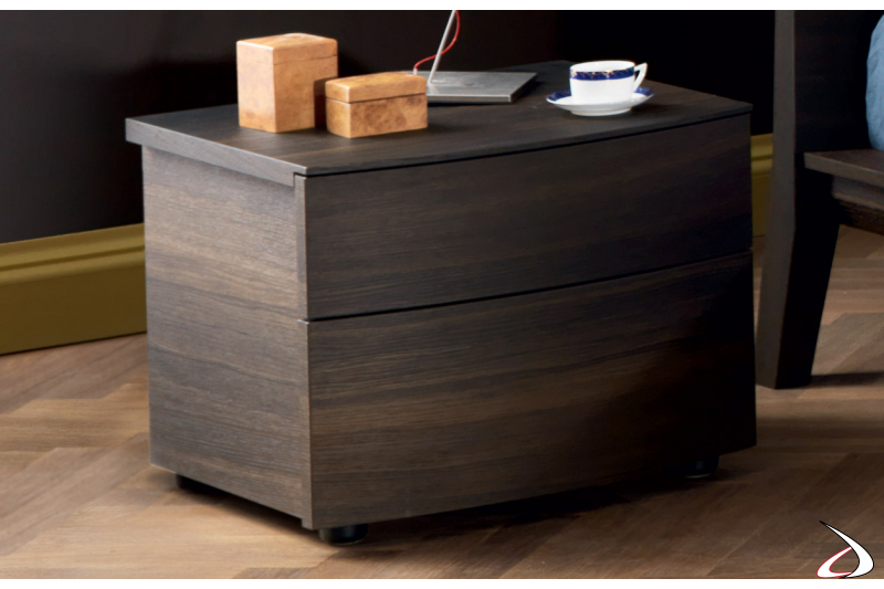 Bedside with 2 curved drawers