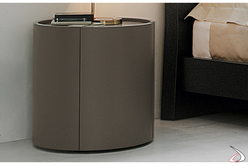 Contemporary round wooden bedside