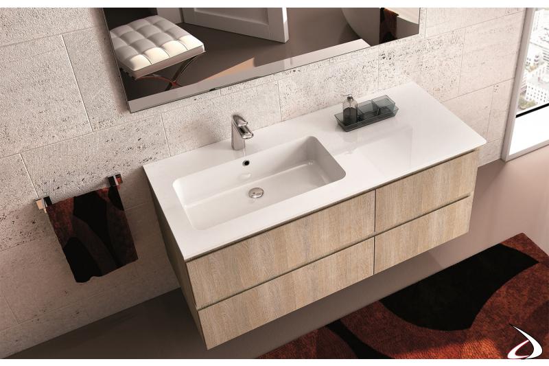 Consolle in mineral marmo con vasca integrata
