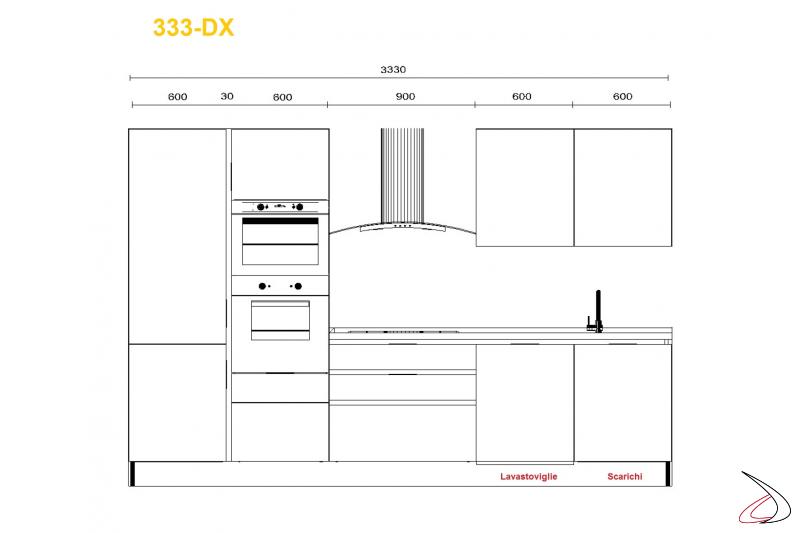 Misure per cucina modrna Miss Chef 363 cm lavello dx