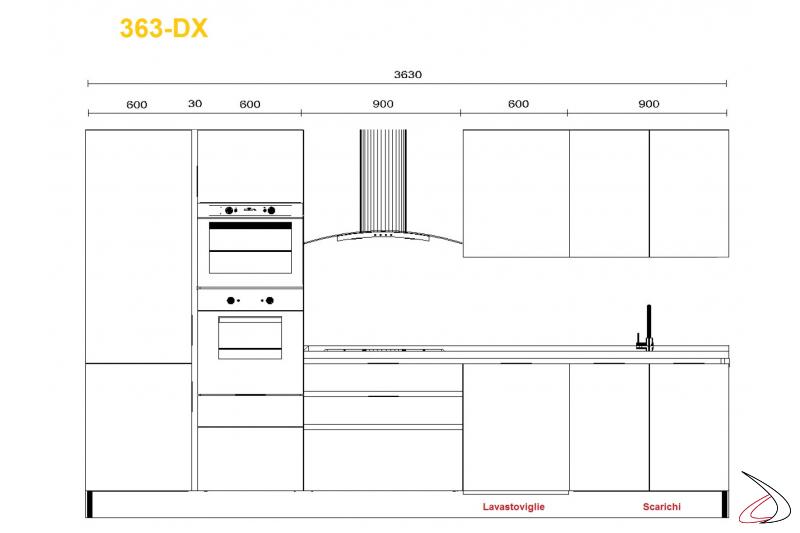 Misure per cucina modrna Miss Chef 333 cm lavello dx
