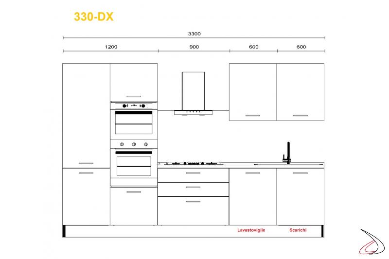 Misure per cucina modrna Mithos 330 cm lavello dx