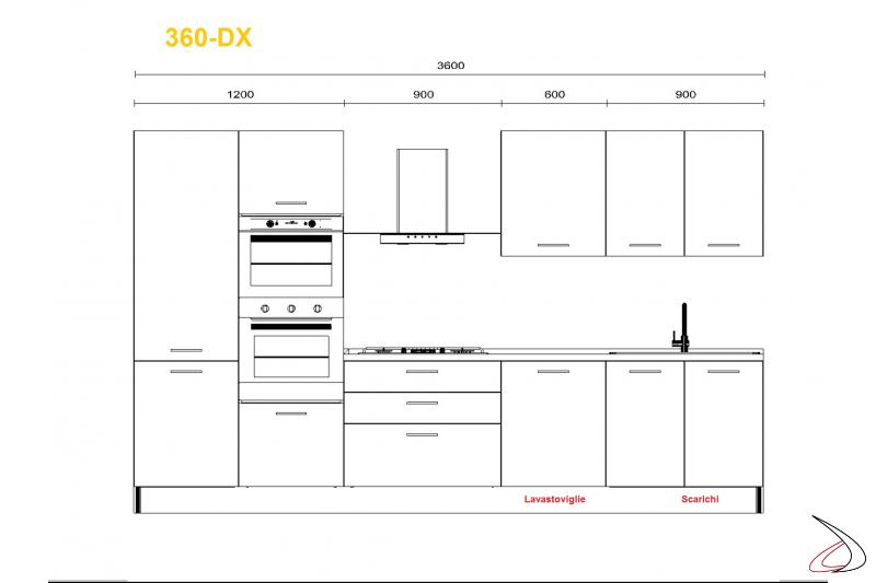 Misure per cucina modrna Mithos 360 cm lavello dx